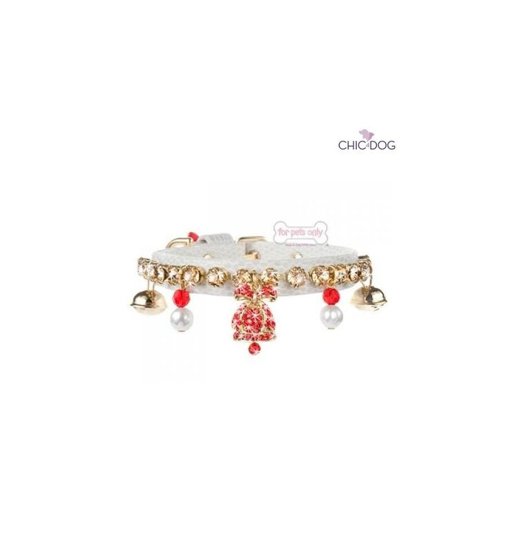 Jingle Bell Collar designed by For Pets Only - #dog #collar hand sewn, embellished with little bells, pearls and #Swarovski crystals - Collare cucito a mano con cristalli Swarovski, campanellini e perle #madeinitaly #Chic4Dog