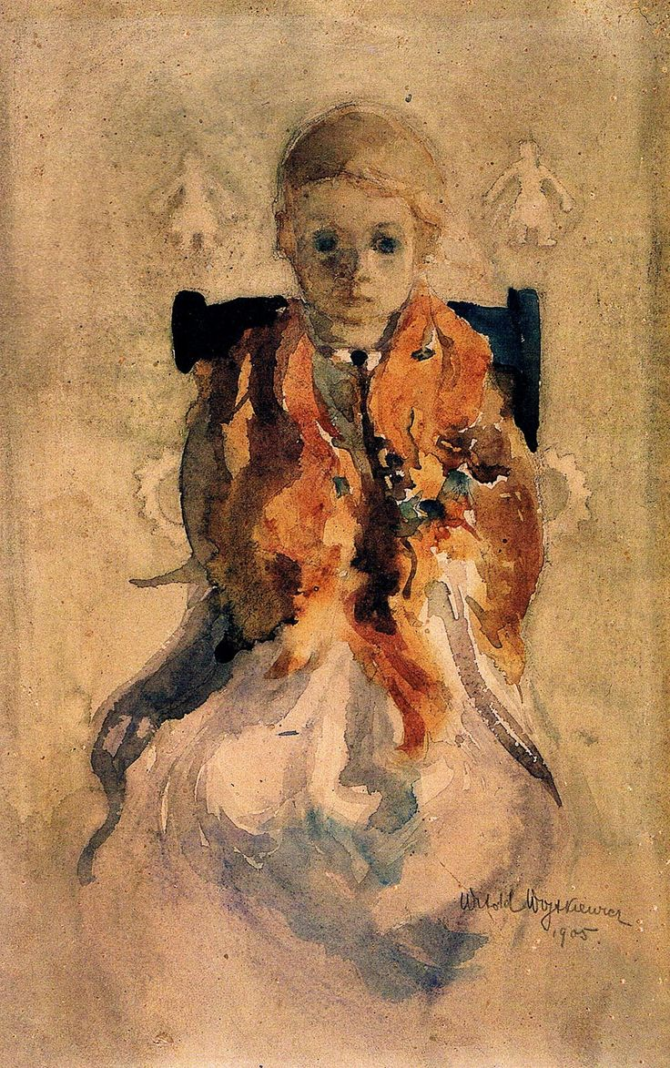 """Child´s Melancholy"" (1905) by Witold Wojtkiewicz (Polish,1879 - 1909); watercolour on paper, 37 x 23.5 cm, National Museum, Warsaw"