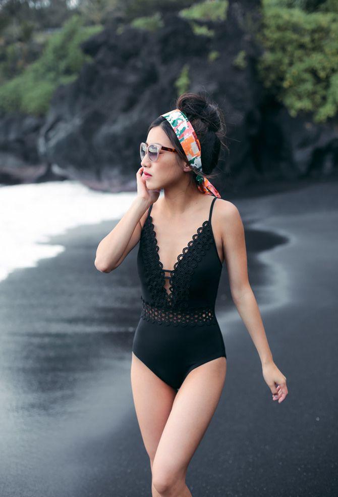 Hana // Becca Siren swimsuit at Black Sand Beach