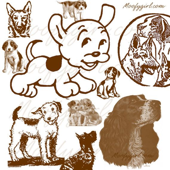 Vintage Dogs Puppies Photoshop Brushes Brush Set by moofygirl, $2.99