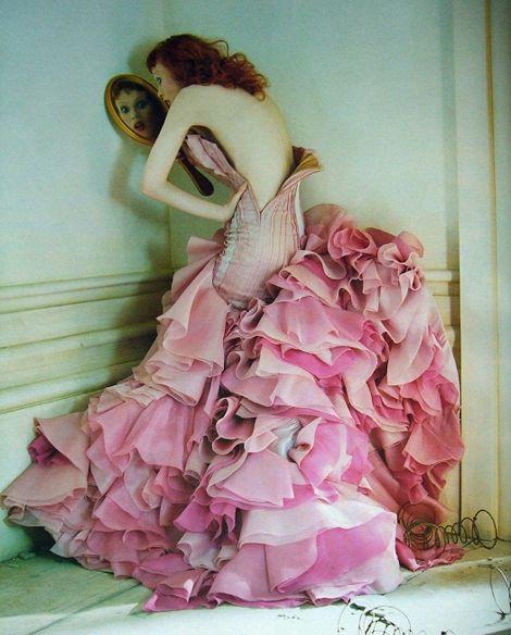 I always love a pile of flounces.  {Karen Elson in a past issue Vogue. Photo Tim Walker, set design by Shona Heath}