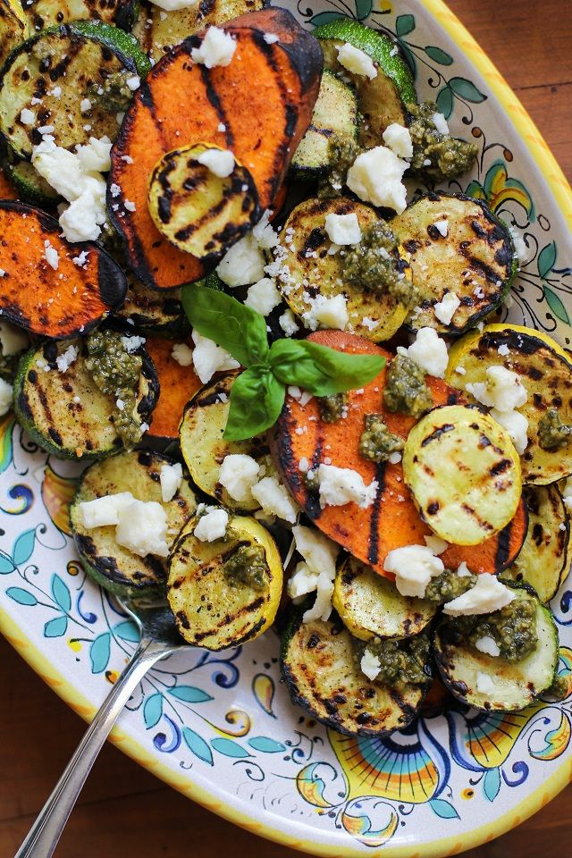 Grilled Sweet Potato, Zucchini, and Yellow Squash with Pesto Sauce and Feta Cheese