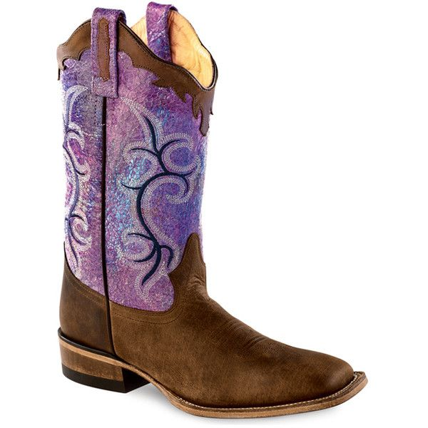 Old West Purple & Brown Shimmer Leather Western Boot ($60) ❤ liked on Polyvore featuring shoes, boots, mid-calf boots, cowgirl boots, cowboy boots, leather western boots, western boots and leather boots