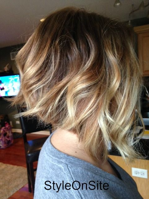 baby lights, fallen highlights, natural blonde, inverted bob, angled bob, balyage, hair color