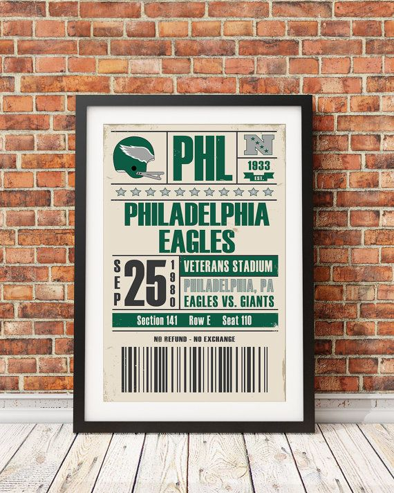 *** All images used are for illustrative purposes only. Please refer to the print description below for the actual size. ***  Philadelphia Eagles Retro Print based on retro game ticket. The year and games are based on actual events. Customizations are available upon request. Simply type the appropriate game information (date, opponent, and seat information) in the note to seller section at the time of purchase.  This fine art print is one of a series of original reinterpretations inspired by…