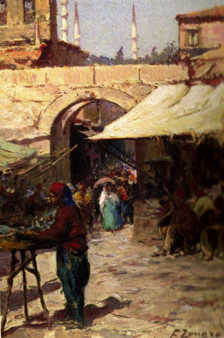 Fausto Zonaro, (1854 - 1929)    Impressive with Table Istanbul Painter  Ottoman paintings