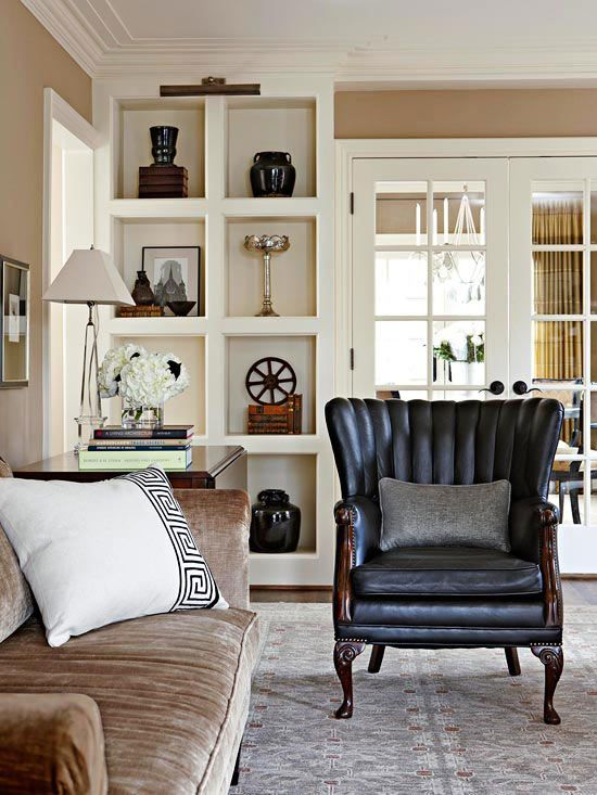 Fabulous showcases for sculptures, treasured antiques, and finely framed photos, built-in bookcases add distinguished dimension to sophisticated spaces: http://www.bhg.com/decorating/storage/shelves/bookshelves-styles-sizes-photos/?socsrc=bhgpin092414thinkbeyondbooks&page=9
