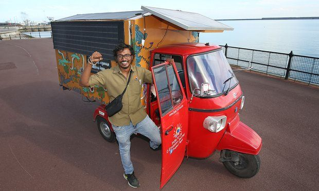 *With A Road Trip From India, Engineer Reached UK In Solar Powered Tuk-Tuk*  It is said that if you have the determination, nothing can stop you. And #NaveenRabelli, a 35 year old engineer from #India, and currently an Australian citizen while working as an automotive engineer there he had the determination to reach to his destination.   #RoadTrips #India #TukTuk