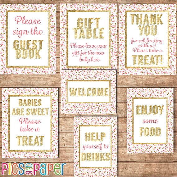 Hey, I found this really awesome Etsy listing at https://www.etsy.com/listing/251320186/pink-and-gold-baby-shower-table-signs