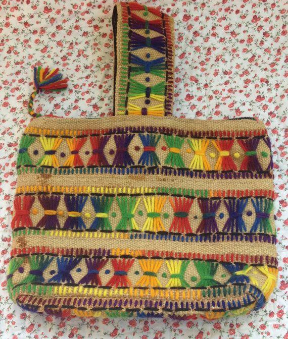 Funky Handmade Rainbow Yarn and Burlap Purse