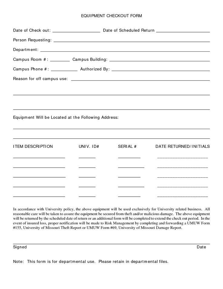 Equipment Check Out Form Template  Biz Templates