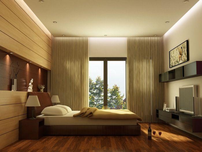 Aranżacja sypialni wystrój nowoczesny, minimalistyczny w kolorach biały, brązowy - projekt wnętrza #4875, Homplex