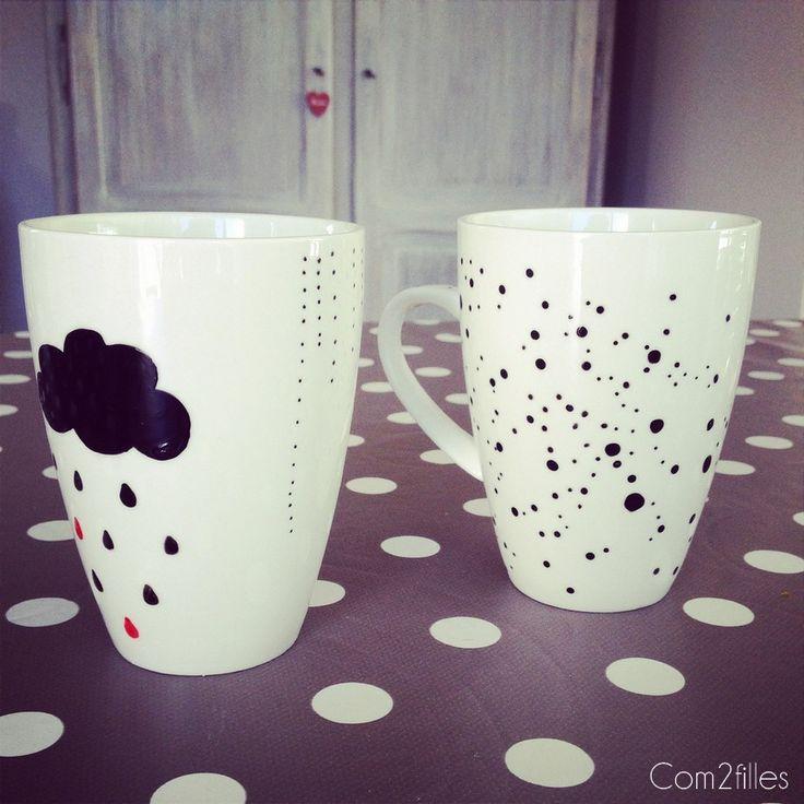 Des mugs customisés ! Nuage, gouttes de pluie, pois.