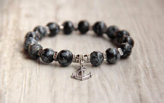 Black men bracelet Gemstone snowflake by AllAboutHandmade1 on Etsy