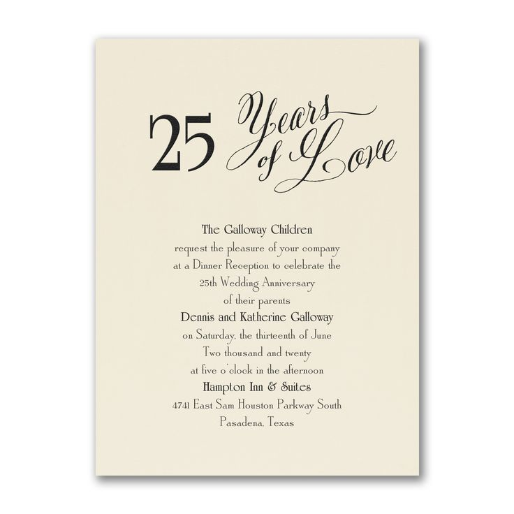 12 best 25th Anniversary Invitations images on Pinterest