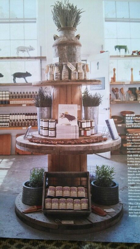 Wooden cable spools for display tables, add crates where needed at bottom or shelving behind.