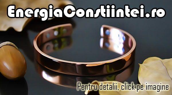 """""""Brăţară Magnetică Terapeutică din CUPRU cu 6 Magneţi de Neodim – cod BRA021 Condiţie: Nou Model: Dama Metal: CUPRU cu puritate 96,3% Elemente conţinute: Magneţi neodim Valoare magnetică gauss: Aprox. 3000 Culoare: Arămiu Greutatea: 21g Lăţime: 8mm Mărime: 160mm (ajustabilă)"""""""