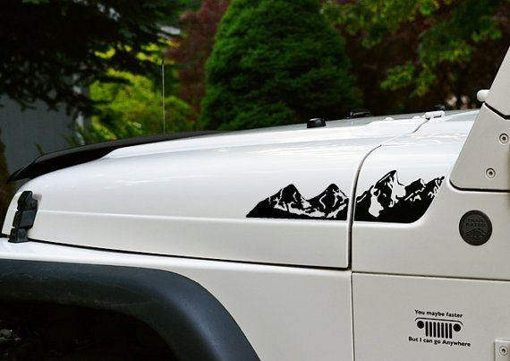 Jeep Wrangler TJ prolongée capuche montagnes par GraphicForest