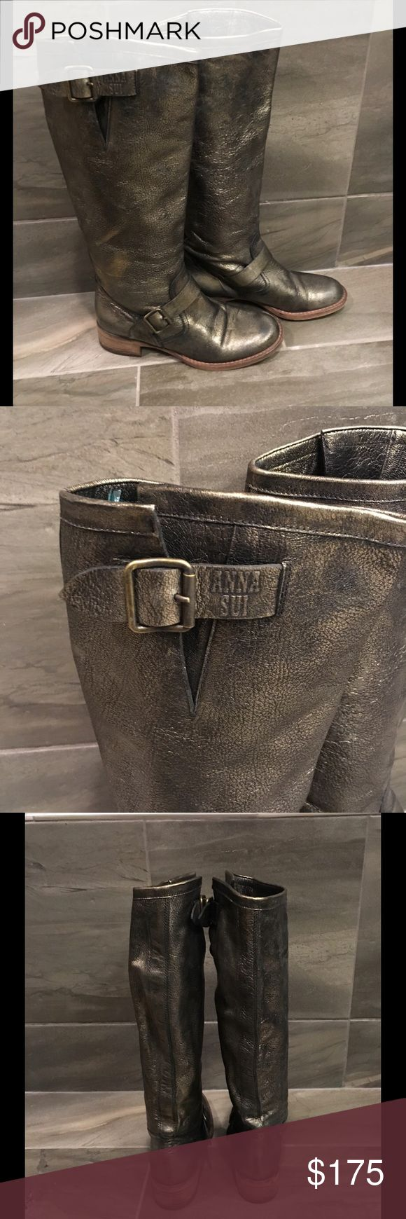 """Anna Sui Metallic Riding Boot Sz. 38 1/3"""" Anna Sui Metallic Riding Boot. Beautiful color. Shaft Measures 14"""" on back from Top of Heel. Great Condition! Approx. Circumference around top 14 1/2"""". Stacked heel 1 3/8"""" Anna Sui Shoes"""