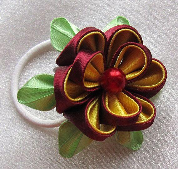 Резиночки для волос с цветами канзаши от intalasa на Etsy