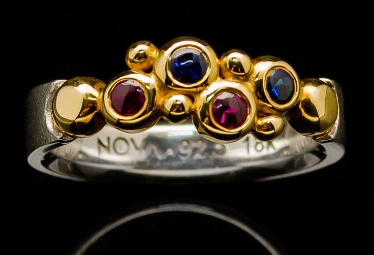 Bubble Ring. Silver + 18k Yellow Gold and Rubies + sapphires.   Nova Collection Chiang Mai  etsy.me/1wGyCtb