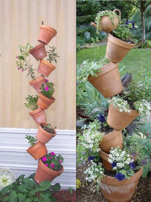 DIY Instructions for a Tipsy Plant Tower Share this with all your garden friends Great for limited space for Flower Gardens and Herb Gardens can be done with Plastic or Clay Pot even Galvanized Steel buckets too just make sure to put Drainage holes in them