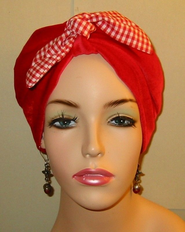 Turban/ChemoHat/Red Knit w Tie, Cancer Hat, Hijab