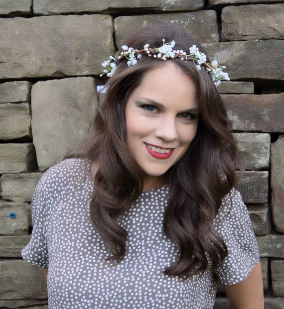 White Gypsophila Floral Crown Halo Flower Girl by Flashfloozy