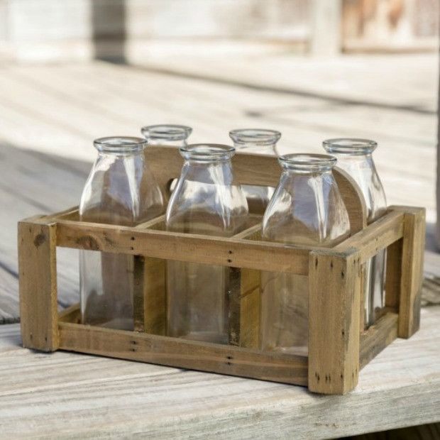 Decorative Wooden Milk Crate With 6 Bottles Crate Decor Milk Crates Diy Wooden Crate