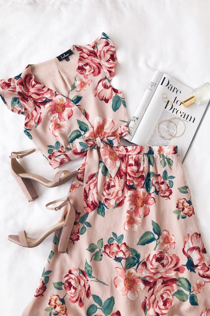 Good Fleur You Blush Pink Floral Print Two Piece Maxi Dress Fashion Fashion Outfits Clothes [ 1105 x 736 Pixel ]