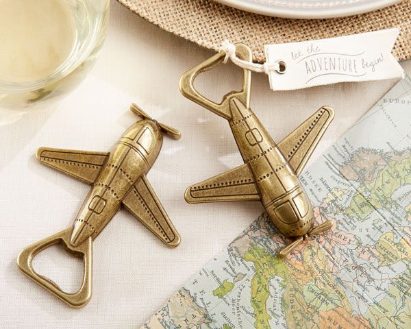 Let the Adventure Begin Airplane Bottle Opener (Kate Aspen 11254NA) | Buy at Wedding Favors Unlimited (http://www.weddingfavorsunlimited.com/let_the_adventure_begin_airplane_bottle_opener.html).