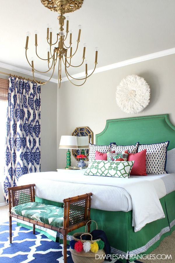 Kelly Green Navy And Pink Master Bedroom Bold Colorful Preppy