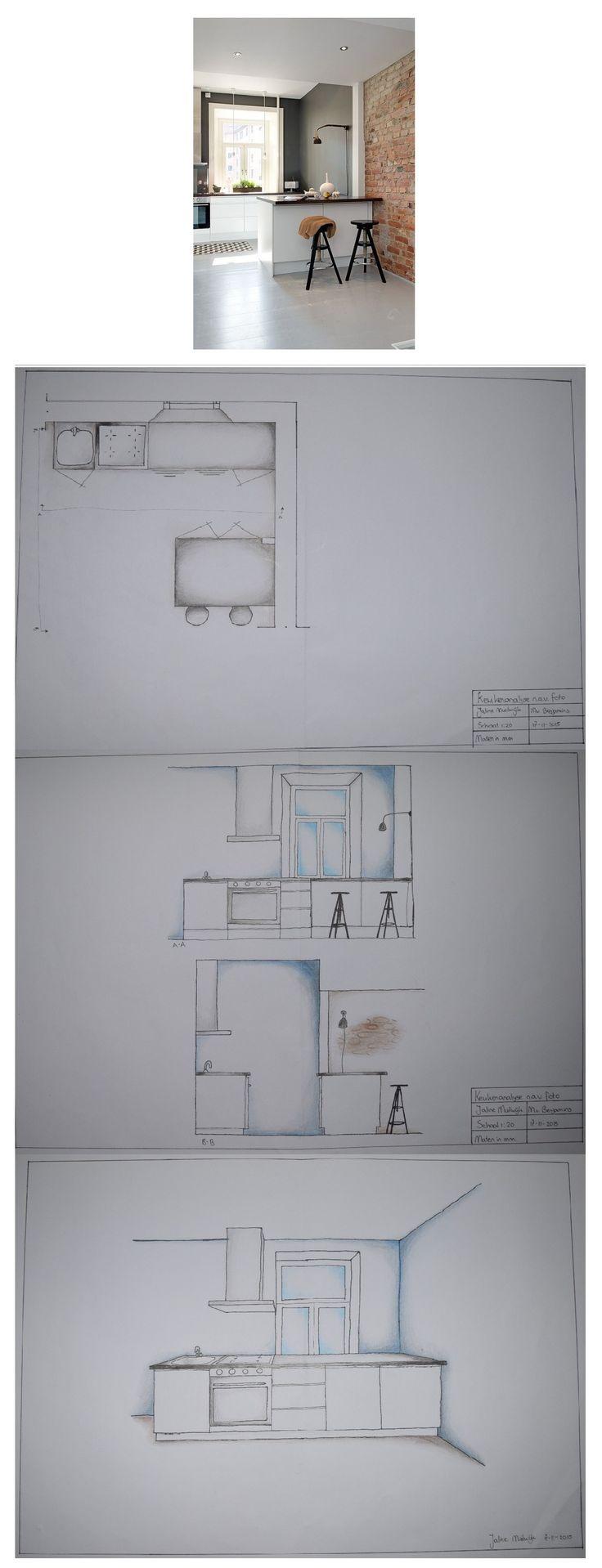 Leerjaar 1 - Interieur Tekenen - Dit was een moeilijke maar leuke opdracht. Iedereen kreeg een foto en na aanleiding daarvan moest je de maten van de keuken gokken, er een plattegrond van maken, aanzichten en een perspectieftekening.