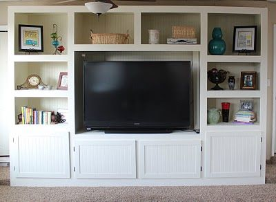 Attractive Living Room Renovation With DIY Entertainment Center For Flat Screen TV    Construction   ShelterHub Part 31