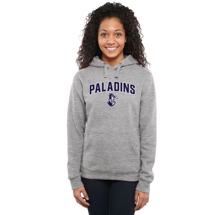 Furman Paladins Women's Proud Mascot Pullover Hoodie - Ash -