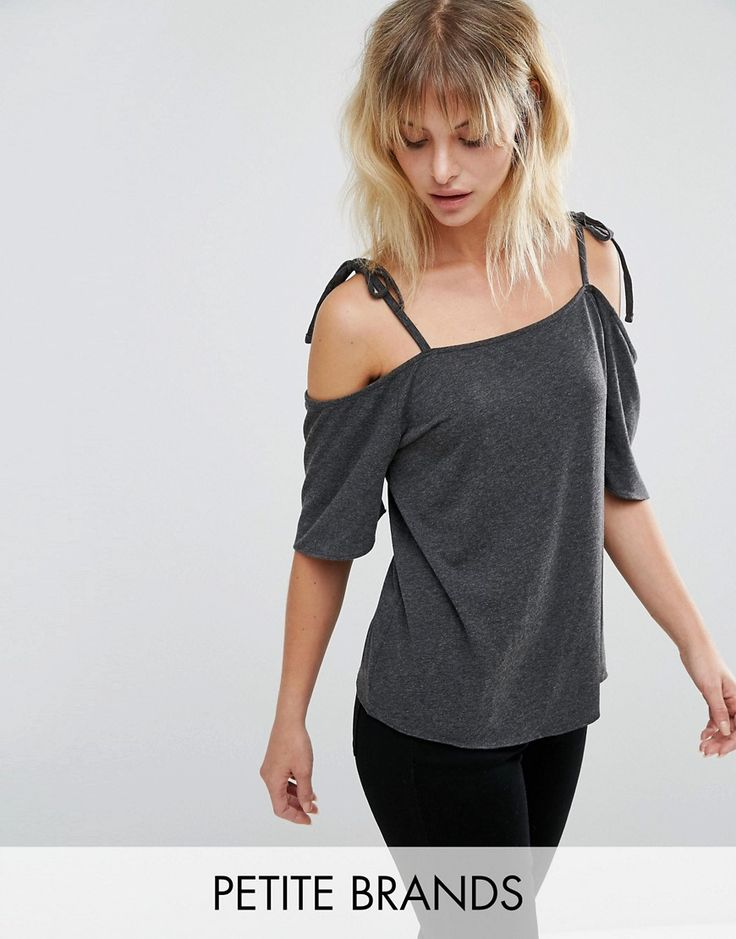 Buy it now. Vero Moda Petite Cold Shoulder Top - Grey. Petite top by Vero Moda Petite, Soft-touch jersey, Square neck, Tie cami straps, Cold shoulder cut, Relaxed fit, Machine wash, 95% Cotton, 5% Elastane, Our model wears a UK XS/EU 36/US 4. ABOUT VERO MODA PETITE Chic, modern and Danish, Vero Moda is all about rebooting your wardrobe with fresh basics and suped-up tailoring. Vero Moda Petite brings us the same signature Scandi-cool vibe and relaxed pieces, only this time perfectly…