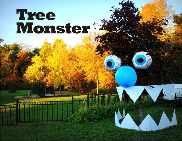 DIY Tree Monster for Halloween - don't mind if I do! Creepy funny yard decor, love it, might keep it up year round...