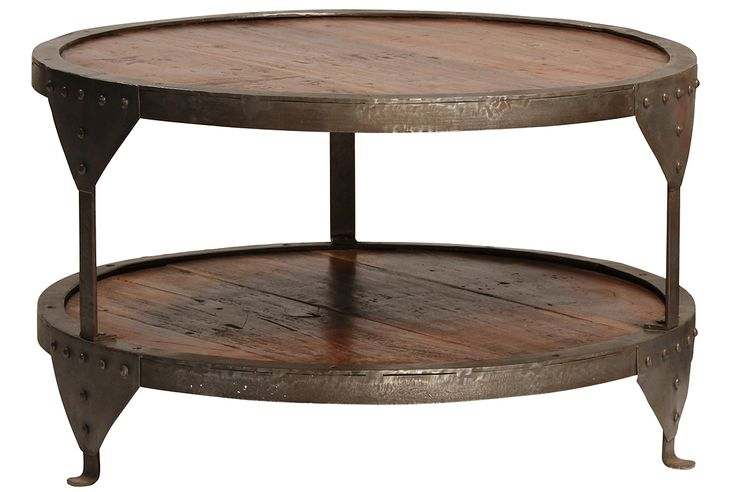 Reclaimed Wood And Iron Round Coffee Table