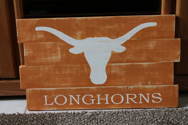 University of Texas Longhorns Distressed Wood by wintermountain, $32.00