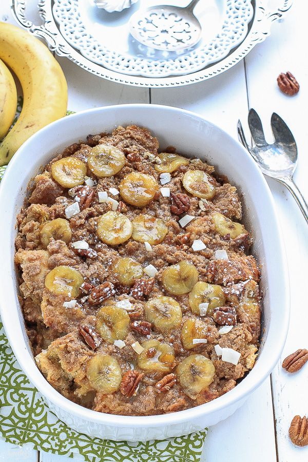 Easy & delicious overnight baked french toast casserole makes the perfect weekend breakfast. Filled with bananas, cream cheese & the best streusel topping.