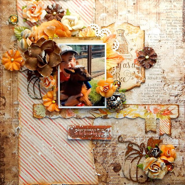 "Blue Fern Studios Amber and Apricot ""Flora"" and ""Chapters"". Scraps of Darkness and Scraps of Elegance: Gorgeous Fall layout - September Falling Leaves Ki..."