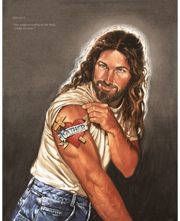 Stephen Sawyers painting of a modern day, carpenter Jesus.
