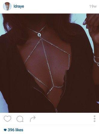 jewels body chain jewelry silver jewelry summer california australia bralette gypsy etsy fashion blogger beach