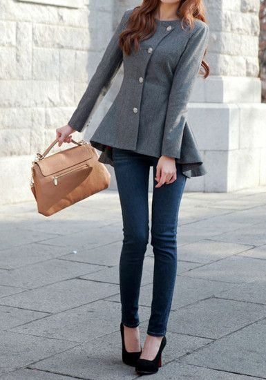 Asymmetric Fit-and-flare Blazer - Grey - Fully Lined Outwear