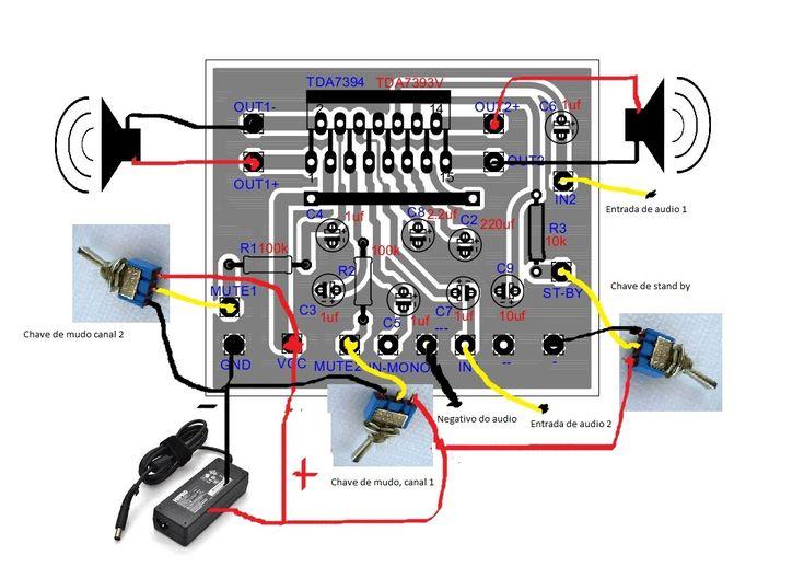 Circuito X : Ligações amplificador w com tda