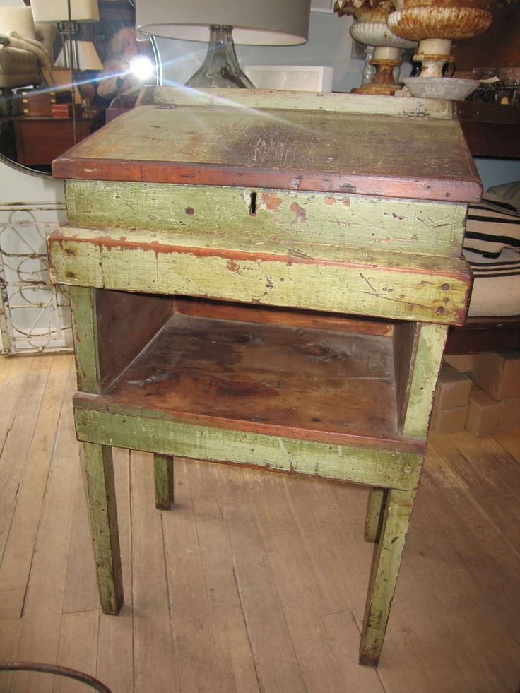 Primitive Painted Furniture   Primitive Painted Tall Desk at 1stdibs