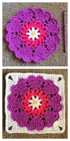 Heart Mandala Square Free Crochet Pattern