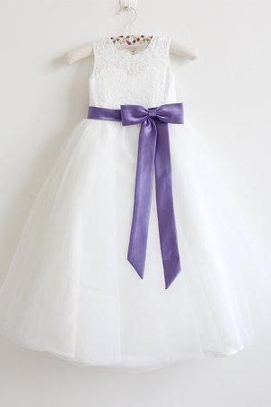 Light Ivory Flower Girl Dress Purple Baby Girls Dress Lace Tulle Flower Girl Dress With Purple Sash/Bows Floor-length D7