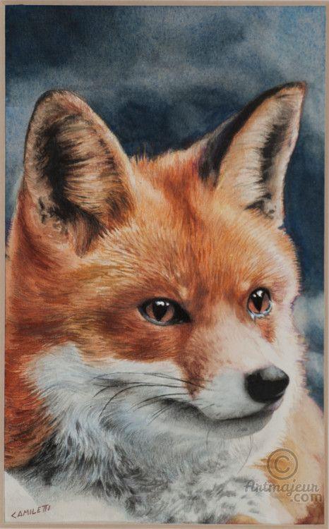 Ritratto di volpe - Painting, Watercolor 12x25 cm ©2000 by VALENTINO CAMILETTI -                                                        Figurative Art, Paper, Animals