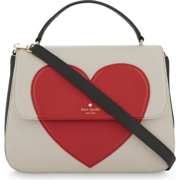 Kate Spade New York Be Mine Heart Alexya leather shoulder bag found on Polyvore featuring bags, handbags, shoulder bags, purses, hearts, valentine, red leather purse, red shoulder bag, red purse and leather handbags